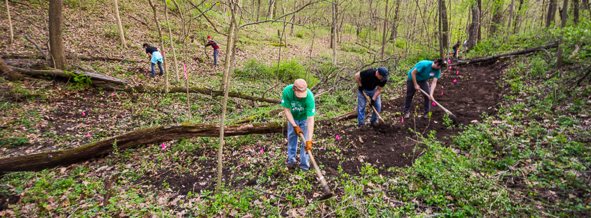 FORC volunteers cutting in new trail at Dorrance Forest Preserve.