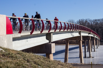 Credit Island bike path bridge leads to more adventure on the Iowa shoreline.