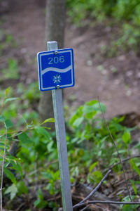 The trails are marked frequently with blazes. Donated by Custom-Pak in DeWitt